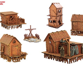 "Wargaming terrain: ""Swamp Village"" - 28mm (1-35) wooden house, building, scenery for Age of Sigmar, LotR, Hordes fantasy table game"