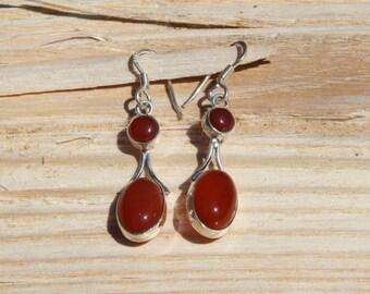 Indians ethnics earrings in silver 925 and cornelian: semi precious stone.