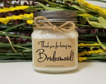 Bridesmaid Thank You Gift - Bridal Party Gifts - 8oz Soy Candles Handmade - Maid of Honor - Matron of Honor - Wedding Candles - Bridesmaid