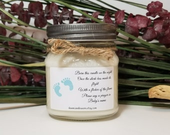 Baby Boy Shower - 8oz Thank You Gifts - Light This Candle - Baby Shower Favors - Baby Shower Prizes - Personalized Baby Shower Candles