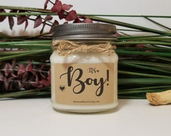 It's A Boy Personalized Candles - 8oz Soy Candles Handmade - Baby Announcement - Baby Gender Reveal - New Mom - New Grandma Gift
