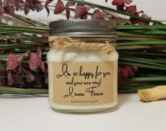 Engagement Gift - Personalized Gift - 8oz Soy Candles Handmade - Bridal Shower Gift - Bride Gift - Wedding Gift - Mason Jar Candles