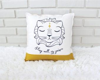 Lion Pillow / Embroidered Pillow Cover / Sleep Baby / Safari Nursery / Embroidery Art