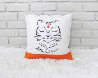 Tiger Pillow / Embroidered Pillow Cover / Little, but Fierce / Shakespeare Quote / Safari Nursery / Embroidery Art