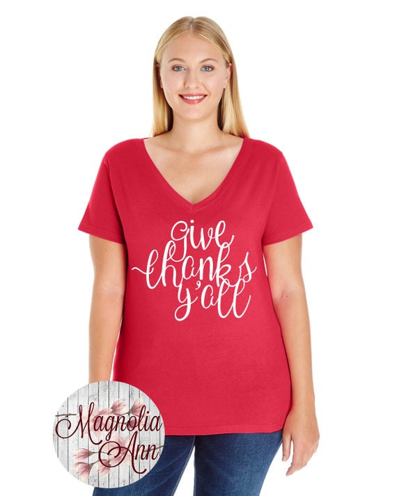 Give Thanks Y'all, Thanksgiving Shirt, Inspirational, Womens Jersey V-Neck T-shirt in Sizes Small-4X, Plus Size Clothing, Plus Size T Shirts