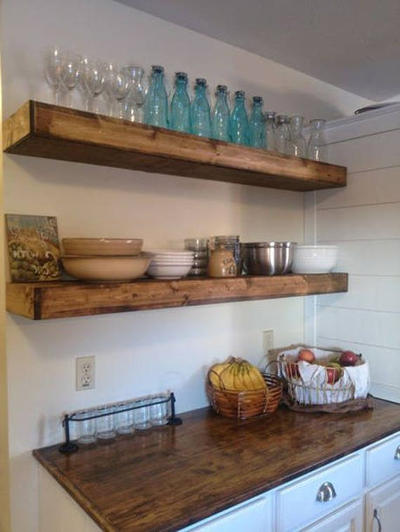 Wood floating shelves 12 inches deep rustic shelf Floating shelf ideas for kitchen