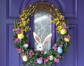 Easter Wreath,Easter Egg Wreath, Easter Bunny Wreath, Bunny and Chicks Wreath