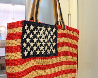 USA Flag Straw Bag 100% Natural ~ Red/White/Blue Patriotic Woven Straw Purse by Amanda Smith ~ Vintage ~ Nice Condition ~  4th of July Motif