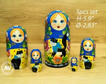 """Babushka Russian stacking dolls Blue Cat Nesting dolls 5.9"""" 15 cm Matryoshka dolls Wooden Toys Russian Dolls Nesting toys Handmade gifts"""