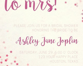 From Miss to Mrs Confetti Bridal Shower Invitation