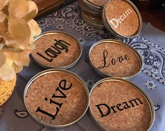 Live Love Laugh Dream Cork Coasters, Decorative Drink Coaster, Rustic Home Decor, Customized Gift, Bridal Shower Present, Modern Rustic