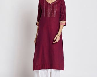Indian ethnic long kurta with pocket in Mangalgiri fabric with hand embroidery on the yoke