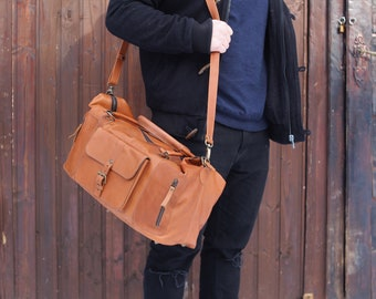 Handmade Leather Travel Bag / Matte Leather Duffle Bag / Leather Overnight Bag / Leather Travel Bag For Men / Brown Leather Duffle Bag