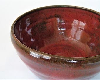 Red Stoneware Bowl, Rustic Pottery Bowl, Large Cereal Bowl, Handmade Ceramic Bowl