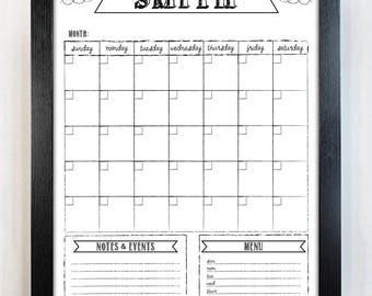 White dry-erase calendar - 18x24 - family calendar - custom wall calendar, family command center, customized, whiteboard, organizer#1853