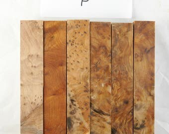 "SALE!! 25% OFF LOT of 6 Thuya Burl Pen Blanks 7/8"" x 7/8"" x 5"""