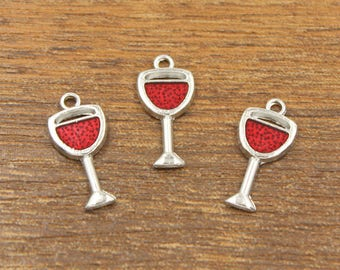 10pcs Wine Glass Charms Antique Silver Tone 10x20mm - EH5