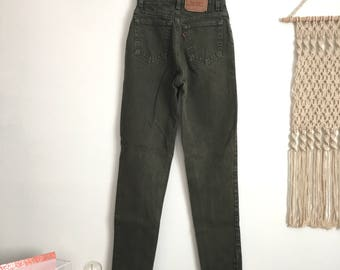 Rare vintage Levis 512 high waisted jeans, olive green, size 26