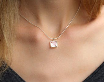 Rose Quartz Necklace Silver – Beautiful Square Pendant Necklace in 925 Sterling Silver Setting