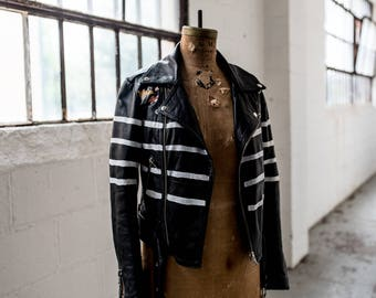 Striped Leather Biker Jacket // Hand-Painted Stripes & Flowers