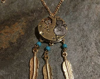 Steampunk Industrial Style Dreamcatcher Pendant, With Large Vintage Watch Parts And Gold Coloured Chain