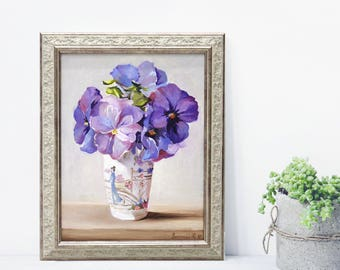 Flowers Oil painting framed art original painting on canvas gift for her valentine's day sale small size violet original painting realism