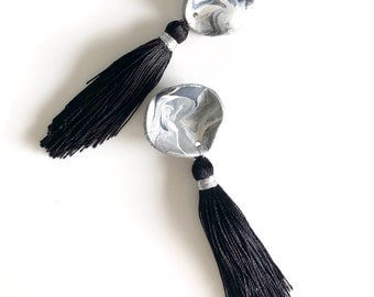 Black Tassel Earrings, Polymer Clay, Fringe Earrings, Long Fringe Earrings, Drop and Dangles.