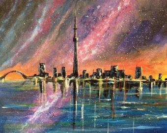 City Lights - original painting - wall art - by US artist Greg Gilreath