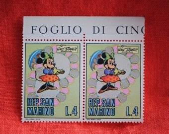 "San Marino 1970   ""Minnie Mouse""   Walt Disney Production   Postage Stamps   Vintage"