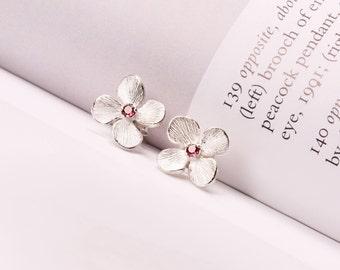 Flower earrings, Personalized Birthstone earrings, Sterling silver earrings, Silver flower earrings,  Birthstone earrings, Stud earrings