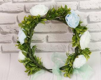 Fairytale Gift  flower headband Boho wreath Halo Rustic Floral Hair Wreath floral hair flowers headband floral wreath greenery crown floral