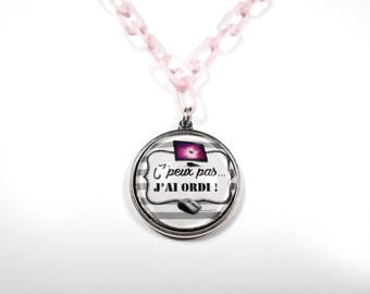 SALE 50% necklace Geek Girl, I can't I computer gamer gaming