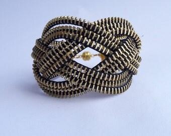 Gold knot bracelet celtic knot bracelet Knotted bracelet Zipper bracelet Industrial jewelry Steampunk bracelet love knot bracelet