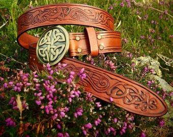 viking leather belt, viking knot belt, celtic belt