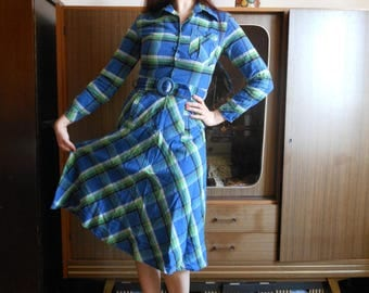 1970s prairie tartan dress by Betty Barclay
