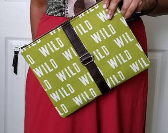 Olive Green Clutch, Wild Clutch, faux Leather Clutch, Large Clutch, Leather Clutch, Wristlet Clutch, Large Clutch Bag, Clutch Purse