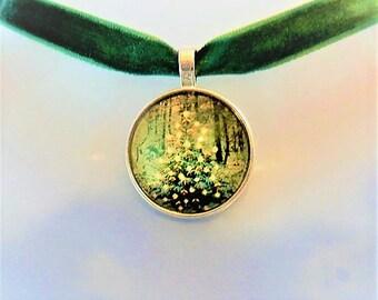 Christmas Jewelry, Xmas Tree Choker Necklace, Green Velvet Choker, Christmas necklace, Cabochon  Necklace, Xmas jewellery, Christmas Gift