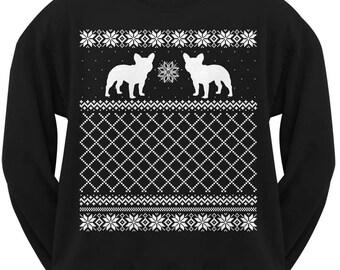 French Bulldog Adult Ugly Christmas Sweater Crew Neck Sweatshirt