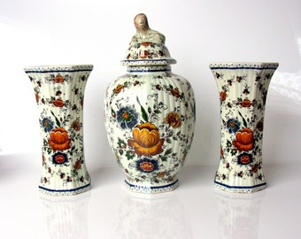 50s / Polychrome Delft / Cabinet Vase Set / Set Of 3 / Mid Century / Lidded Vase / Hand Painted Vases / Rare/ Collectible / Holland / Signed