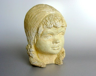 Mid Century / Girl With Ponytails / French / Young Girl / Plaster Head / Plaster Bust / Sculpture / Chalkware / French Country / Shabby Chic