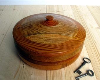 "Danish Modern / Large / Wooden Box / Box With Lid / Wooden / Storage Box / Wood Mosaic / Mid Century / Home Decor / 9 1/2"" Diameter"