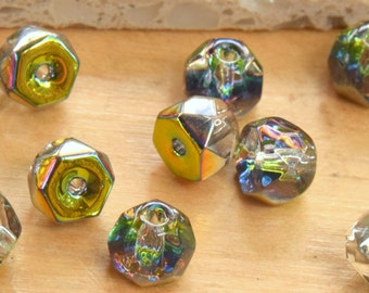 50 Preciosa Czech Fire Polished Flat Domed Beads or Buttons.   6mm Flat Top Half Ball Shaped Czech Glass Beads for Jewelry or Sewing.