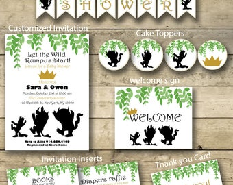 Where The Wild Things Are Baby Shower Party Package, Baby Shower Package, Printable Baby Shower Package, Shower Package