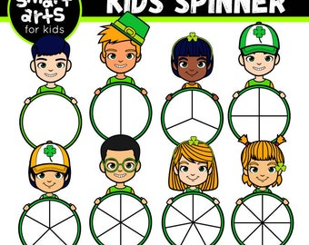 Saint Patrick's Day Kids Spinners Clip Art- Cartoon - digital graphics - instant download - SVG - Vector - png clipart - saint patricks day