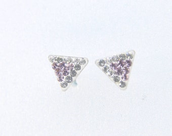 Sterling Silver Stud Earrings, Swarovsky Crystals, 7mm Side of Triangle, Light Amethyst Crystal Color, Unique BlingBling Style Stud Earrings
