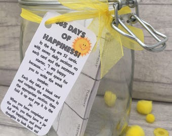 365 Days of Happiness - Jam Packed Jars - Happiness - Year - Personalised - Wellbeing - Wellbeing Gift - 365 Days