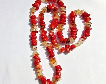 Necklace, coral, carnelian, red, orange, bamboo coral, shard chain, gems, friendship chain, protective chain,