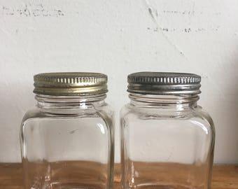 Pair of Vintage Glass Jars with Metal Lids
