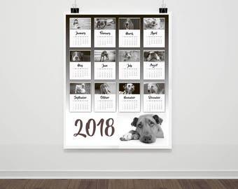 2018 Dog Calendar, 2018 Wall Calendar, 2018 Animal Calendar 2018, 2018 Calendar Printable, Animal Lover Gift, Dog Lover Gift, 24x36 Calendar