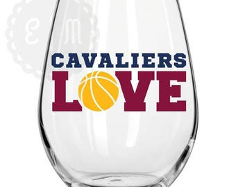 Cleveland Cavaliers 21 oz. stemless wine glass